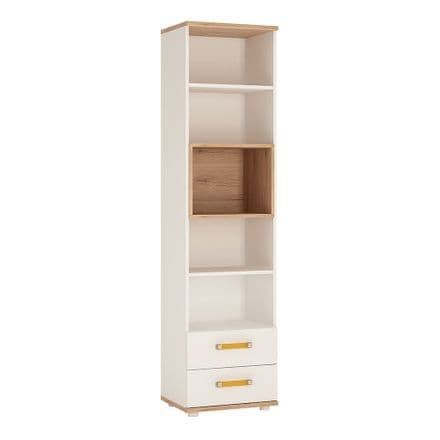 4KIDS Tall 2 drawer bookcase in light oak and white high gloss with orange handles